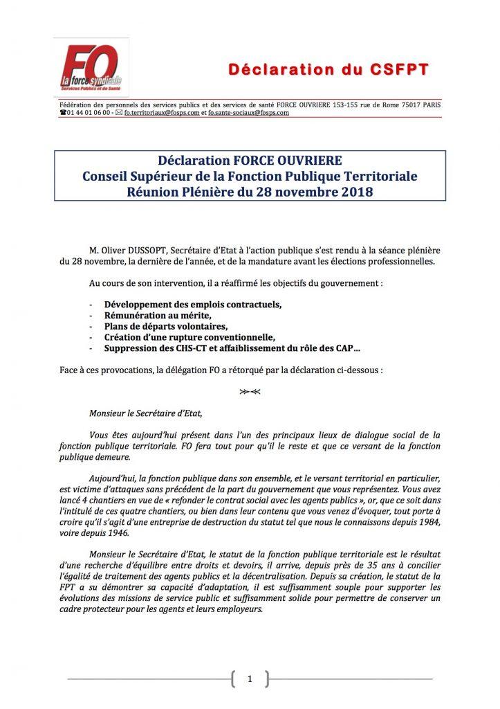Declaration Fo Au Conseil Superieur De La Fonction Publique