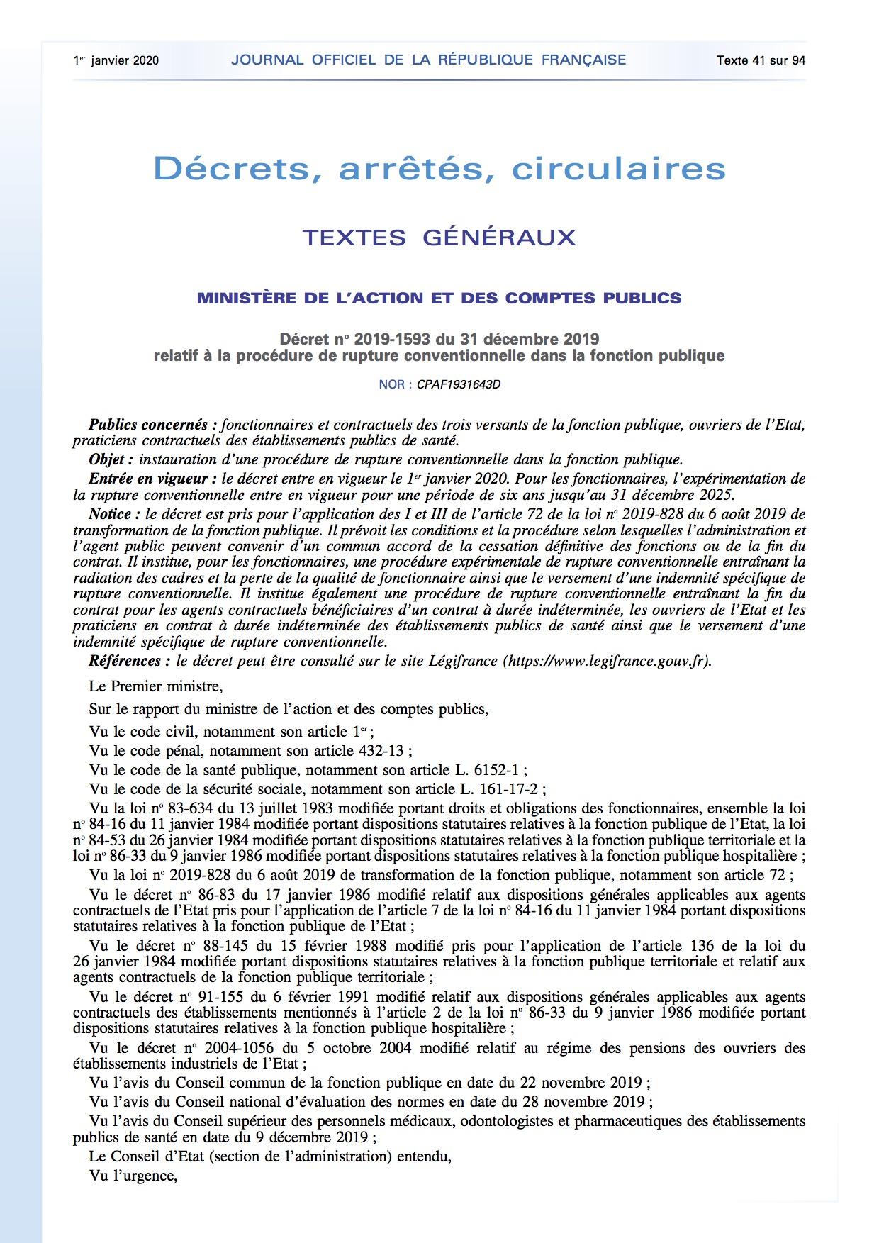 Decret N 2019 1593 Du 31 Decembre 2019 Relatif A La Procedure De Rupture Conventionnelle Dans La Fonction Publique Fo Territoriaux 42